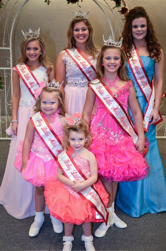 This was our 36th annual Little Miss Arkansas pageant held at the Hot Springs Convention Center in downtown Hot Springs, AR. The winners were: Baby Little Miss Arkansas-Benzlee Bateman from White Hall, AR Tiny Little Miss Arkansas-Dior Ives from Hot Springs, AR Petite Little Miss Arkansas-Addie Rose Castleberry from White Hall, AR Pre-Teen Little Miss Arkansas- Lauren Watt from Pine Bluff, AR Teen Little Miss Arkansas- Stephanie McKinney from Rison, AR Little Miss Arkansas Over-All talent -Madison Carson from Rison, AR